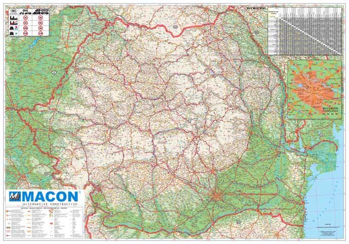 Harta Personalizata Romania Rutiera Pentru Macon Business Map