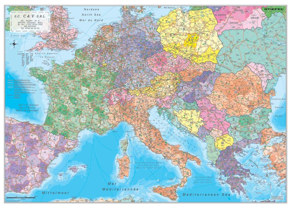 Harta Personalizata Europa Coduri Postale Pentru C V Business Map