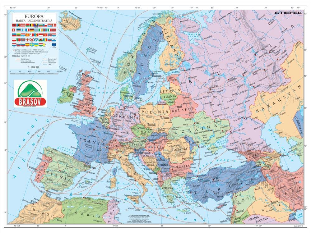 Harta Personalizata Europa Administrativa Pentru Fabrica De Lapte