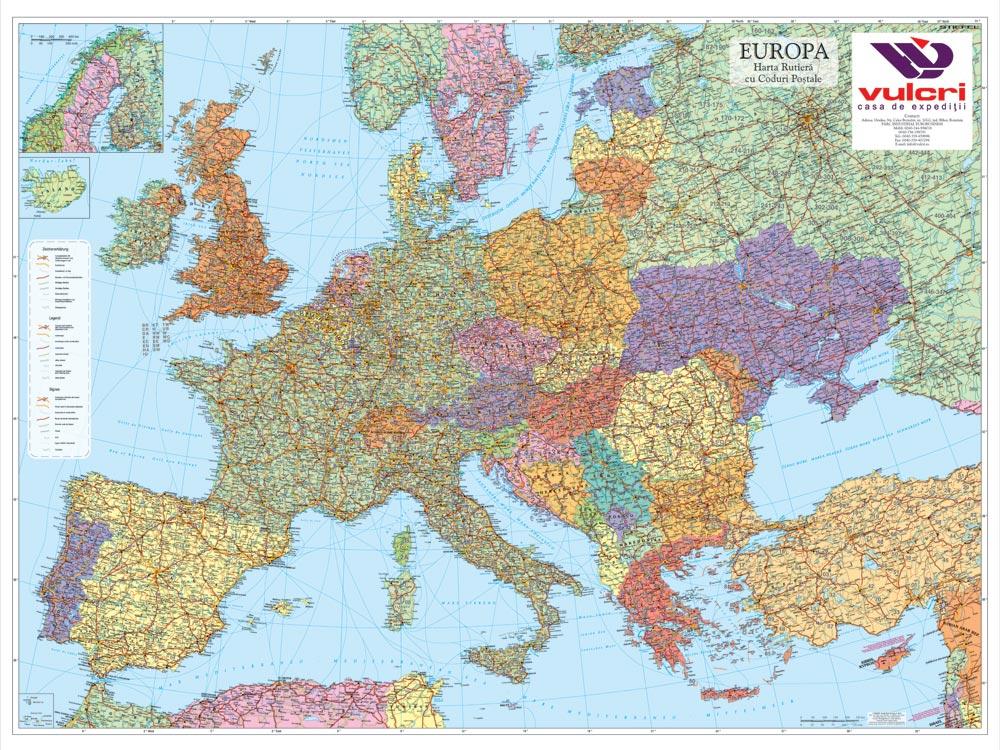 Harta Personalizata Europa Coduri Postale Pentru Vulcri Business Map