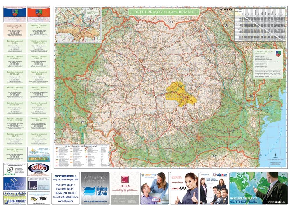 Judetul Brasov Pe Harta Romaniei Business Map