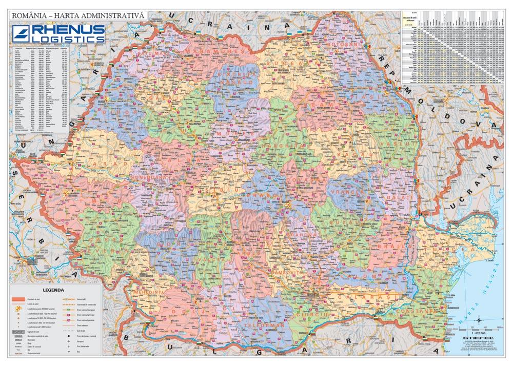 Harta Personalizata Romania Administrativa Pentru Rhenus Logistics