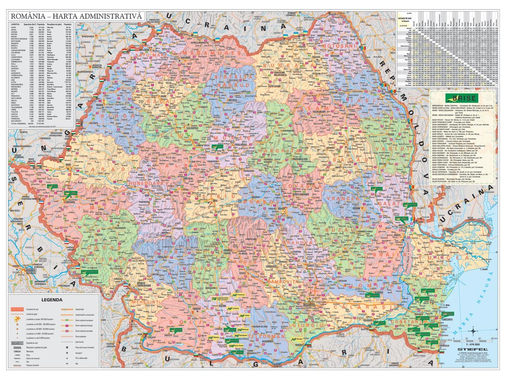 Harta Personalizata Romania Administrativa Pentru Brise Business Map