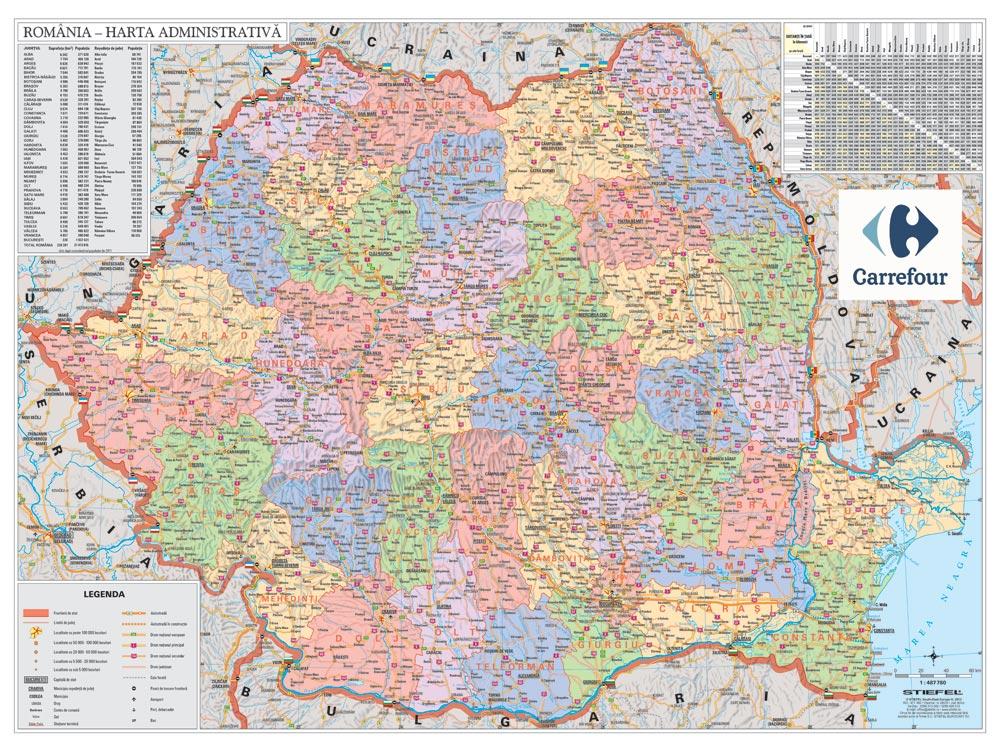 Harta Personalizata Romania Administrativa Pentru Carrefour
