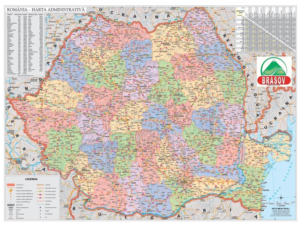 Harta Personalizata Romania Administrativa Pentru Fabrica De Lapte