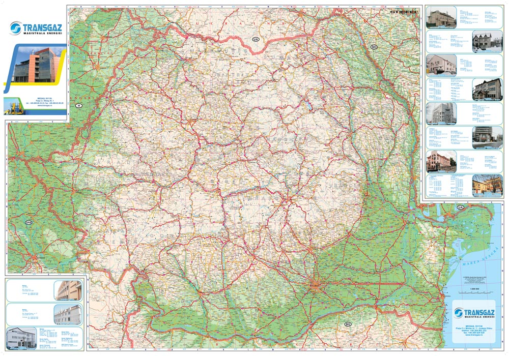 Harta Personalizata Pliabila Romania Rutiera Pentru Transgaz