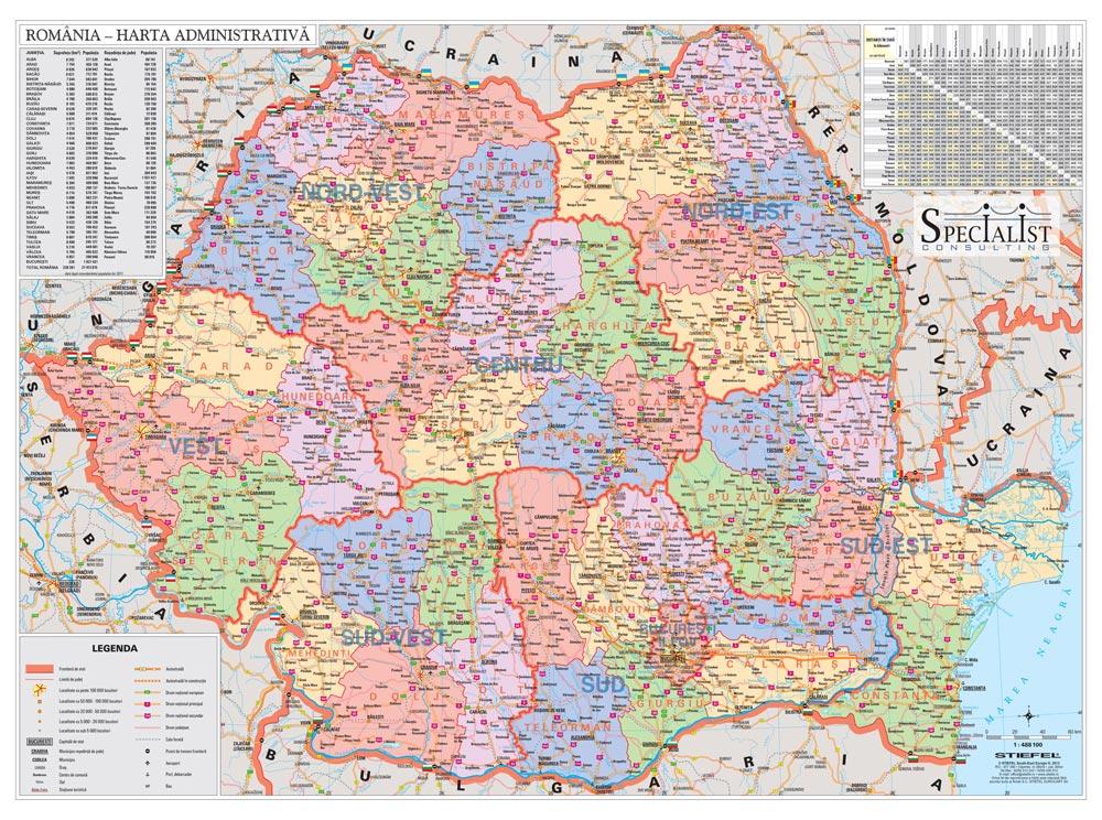 Harta Personalizata Romania Administrativa Pentru Specialist