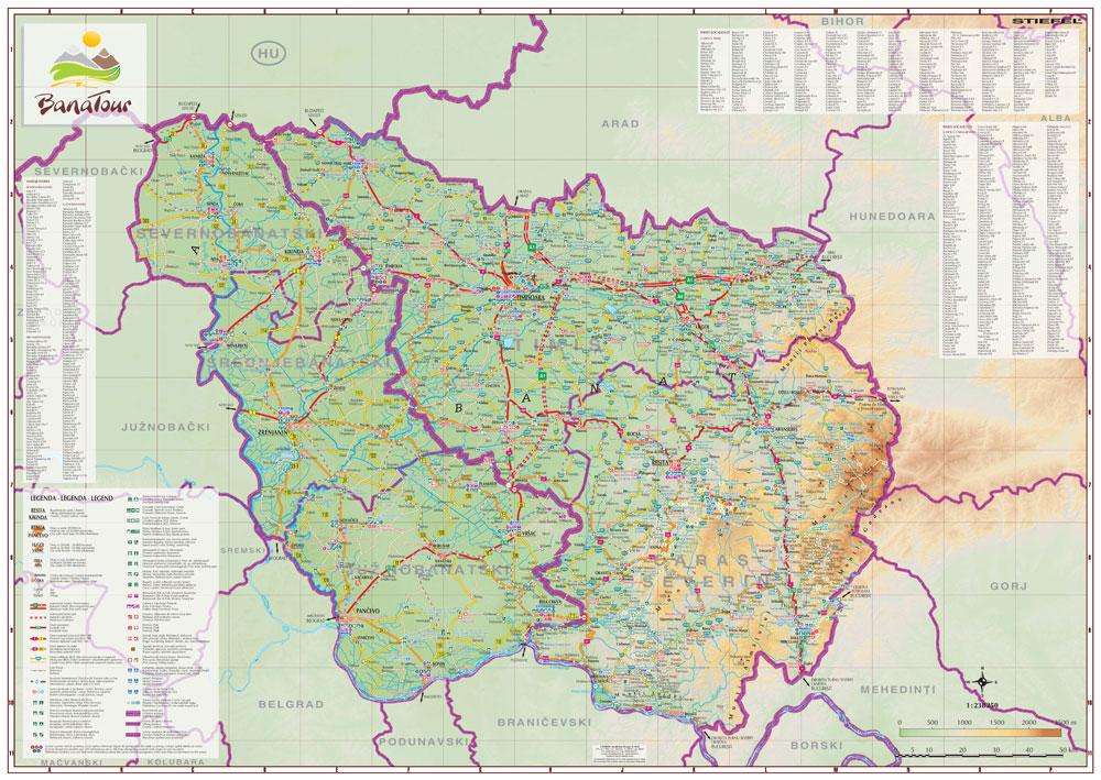 Harta Personalizata Regiunea Transfrontaliera Romania Serbia