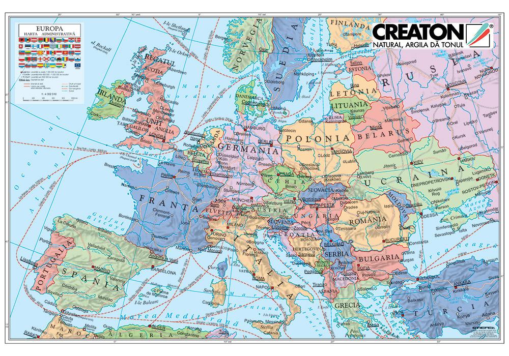 Harta Personalizata Creation De Perete Europa Administrativa